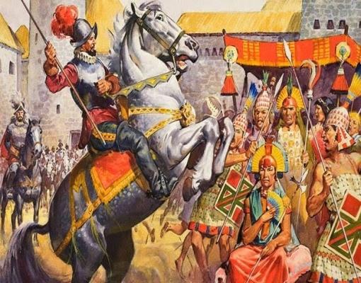 Pintura retrata conquistador espanhol sobre cavalo em frente a incas